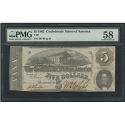 1863 $5 Five Dollars Confederate States of America Richmond CSA Bank Note Bill (T-60) (PMG 58)