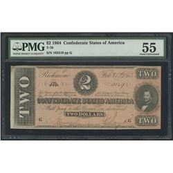 1864 $2 Two Dollars Confederate States of America Richmond CSA Bank Note Bill (T-70) (PMG 55)