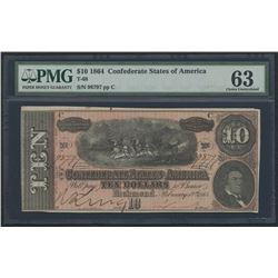 1864 $10 Ten Dollars Confederate States of America Richmond CSA Bank Note Bill (T-68) (PMG 63)
