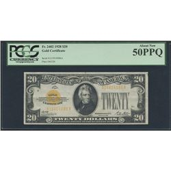 1928 $20 Twenty Dollars U.S. Gold Certificate Currency Bank Note Bill (AA Block) (PCGS 50)(PPQ)