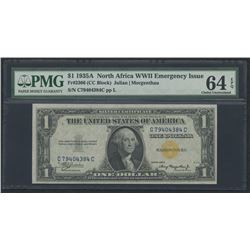 1935-A $1 One Dollar North Africa $1 Gold Seal Silver Certificate Bank Note (PMG 64)(EPQ)