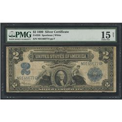 1899 $2 Two Dollars U.S. Silver Certificate Blue Seal Large Size Currency Bank Note (PMG 15)