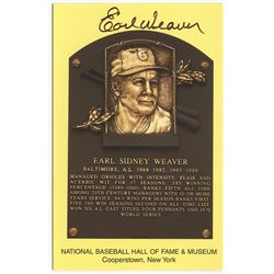 Earl Weaver Signed Orioles Gold Hall of Fame Postcard (PA COA)