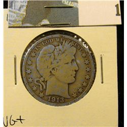 1913 D Barber Half Dollar, VG+