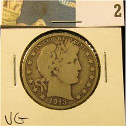 1913 S Barber Half Dollar, VG