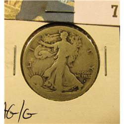 1916 S Walking Liberty Half Dollar, AG/G.
