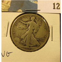 1917 Reverse S Walking Liberty Half Dollar, VG.