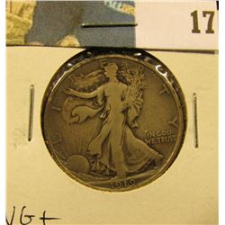 1919 D Walking Liberty Half Dollar, VG+.