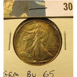 1939 P Walking Liberty Half Dollar, GEM BU 65.