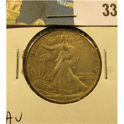 1941 D Walking Liberty Half Dollar, AU.