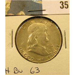 1949 P Franklin Half Dollar. CH BU 63.