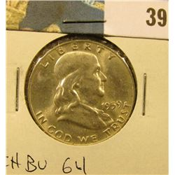 1959 D Franklin Half Dollar. CH BU 64.