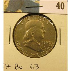 1960 P Franklin Half Dollar. CH BU 63.