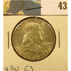 1962 P Franklin Half Dollar. CH BU 63.