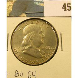 1963 D Franklin Half Dollar. CH BU 63.
