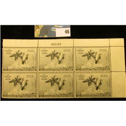 1951 RW18 Plateblock of 6 U.S. Federal Migratory Waterfowl Stamps, Dale Act Year, EF.