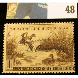 1942 RW9 U.S. Federal Migratory Waterfowl Stamps,Signed.