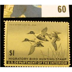 1945 RW12 U.S. Federal Migratory Waterfowl Stamps, Unused, OG, Hinged.