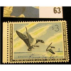 1963 RW30 U.S. Federal Migratory Waterfowl Stamps, Unused, OG, Light hinge.