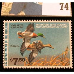 1980 RW47 U.S. Federal Migratory Waterfowl Stamps, Unused, OG, NH. VF.