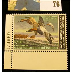 1982 RW49 U.S. Federal Migratory Waterfowl Stamps, Unused plate number single, OG, NH. VF.
