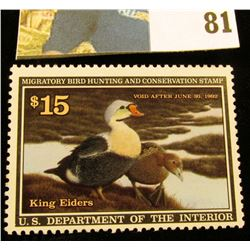 1991 RW58 U.S. Federal Migratory Waterfowl Stamps, Unused, OG, NH. EF.