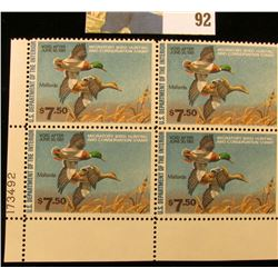 1980 RW47 Plateblock of 4 U.S. Federal Migratory Waterfowl Stamps, VF.