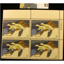 1977 RW44 Plateblock of 4 U.S. Federal Migratory Waterfowl Stamps, VF.