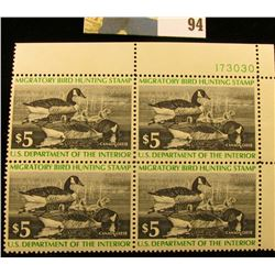 1976 RW43 Plateblock of 4 U.S. Federal Migratory Waterfowl Stamps, VF.