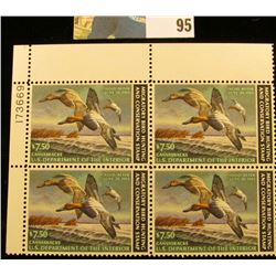 1982 RW49 Plateblock of 4 U.S. Federal Migratory Waterfowl Stamps, VF.