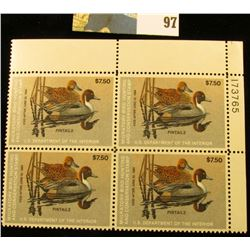 1983 RW50 Plateblock of 4 U.S. Federal Migratory Waterfowl Stamps, VF.