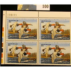 1987 RW54 Plateblock of 4 U.S. Federal Migratory Waterfowl Stamps, Serial no. 178171. $10 denominati