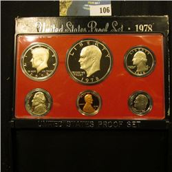 1978 S U.S. Proof Set with Eisenhower Proof Dollar. Deep mirror Cameo frosted Six-piece Set.
