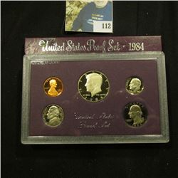 1984 S Deep Mirror Cameo U.S. Proof Set. Original as issued. Five-piece Set.
