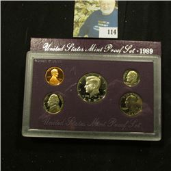 1989 S Deep Mirror Cameo U.S. Proof Set. Original as issued. Five-piece Set.