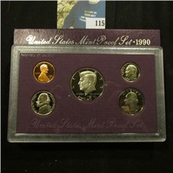 1990 S Deep Mirror Cameo U.S. Proof Set. Original as issued. Five-piece Set.
