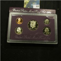 1992 S Deep Mirror Cameo U.S. Proof Set. Original as issued. Five-piece Set.