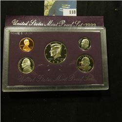 1993 S Deep Mirror Cameo U.S. Proof Set. Original as issued. Five-piece Set.