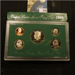 1995 S Deep Mirror Cameo U.S. Proof Set. Original as issued. Five-piece Set.