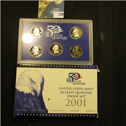 2001 S Five-Piece Statehood U.S. Quarter Proof Set. Original as issued. Five-piece Set.