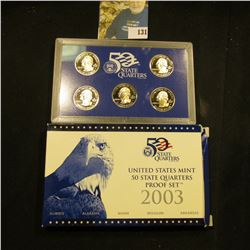 2003 S Five-Piece Statehood U.S. Quarter Proof Set. Original as issued. Five-piece Set.