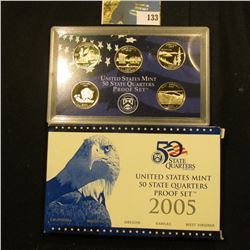 2005 S Five-Piece Statehood U.S. Quarter Proof Set. Original as issued. Five-piece Set.