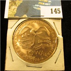 "1976 Iowa American Revolution Bicetennial Bronze ""Plow"" Commemorative. Gem BU. 39mm."