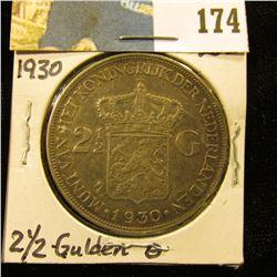 1930 Netherlands Silver 2 1/2 Gulden silver-dollar size Coin, VF.