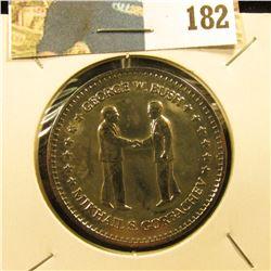 """""""George W. Bush Mikhail S. Gorbachev"""", """"Double Eagle Commemorative"""", 39mm, layered in .999 Fine Silv"""