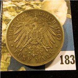 1907 F Wuerttemberg Germany .900 fine Silver Five Mark, VF.