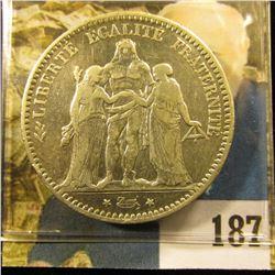 1875 A France .900 fine Silver Five Francs, VF+.