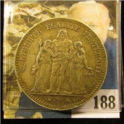 1876 A France .900 fine Silver Five Francs, VF+.