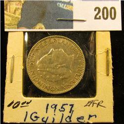 1957 Netherlands Silver One Guilder, EF.