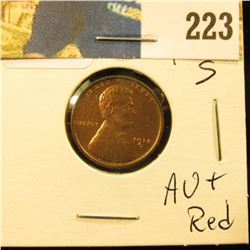 1918 S Lincoln Cent - AU + red